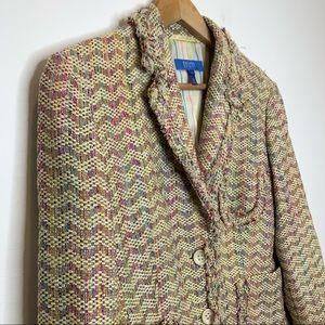 Escada Sport Silk Blend Multi Color Tweed Blazer